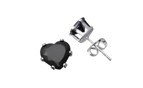 14k White Gold Over Sterling Silver 1ct Black Cubic Zirconia Studs