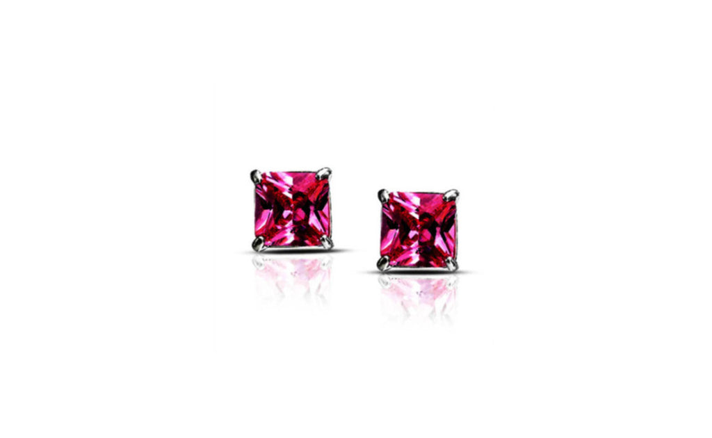 14k White Gold 4ct Princess Cut Pink Cz Earring