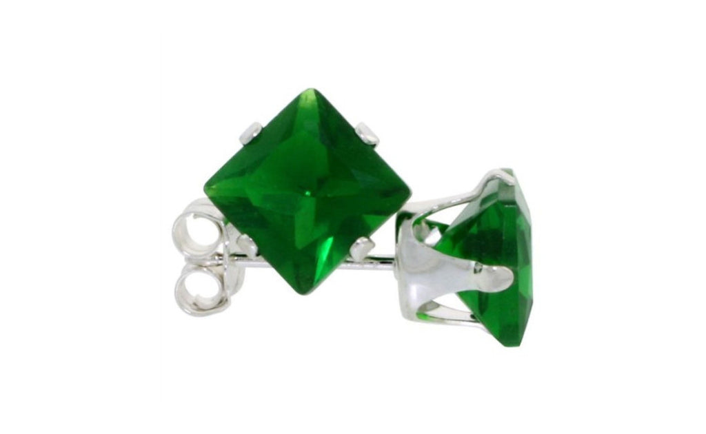 Sterling Silver 1ct Emerald Gemstone Earrings
