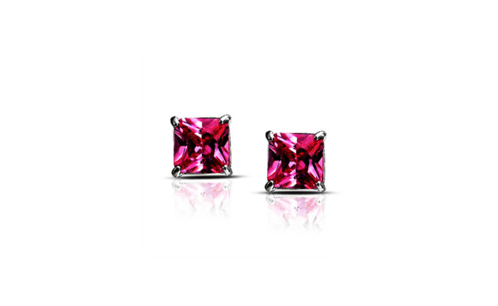 Platinum Over Sterling Silver Princess Pink Cz Earring