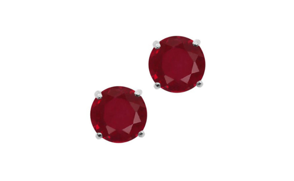 14k White Gold 1/4 Carat Red Genuine Diamond Round Earrings Sl1