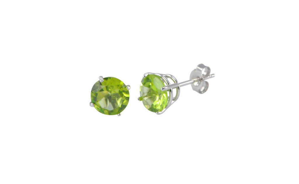 Platinum Over Sterling Silver 1ct Peridot Gemstone Earrings