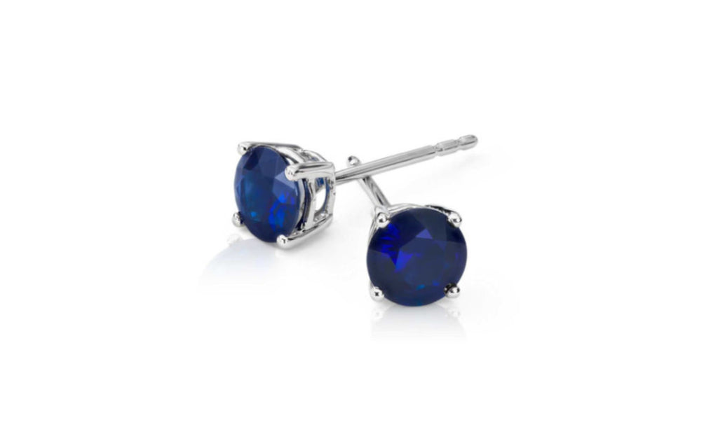 14k White Gold Over Sterling Silver Blue Sapphire Cz Earring