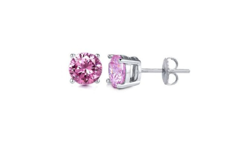 Kids Platinum Over Sterling Silver Simulated Diamond Earrings