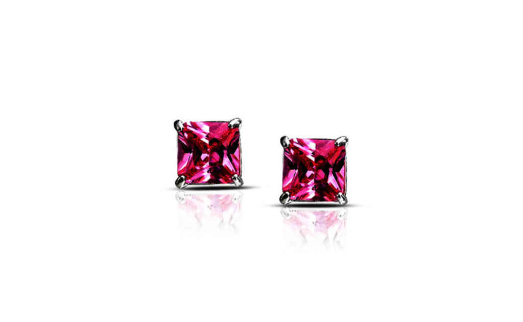Platinum Over Sterling Silver Imitation Diamond Earrings