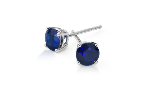 14k White Gold Over Sterling Silver Blue Sapphire Gemstone Earrings