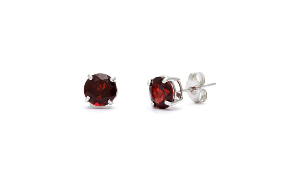 Sterling Silver 4ct Round Garnet Cz Earring