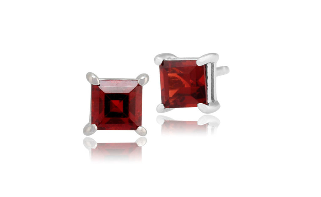 Platinum Over Sterling Silver Garnet Gemstone Earrings
