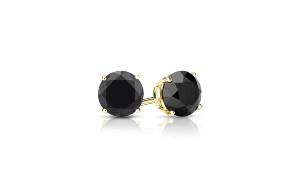 14K Yellow Gold Genuine Round Black Diamond Earrings 1/2 CT Sl1