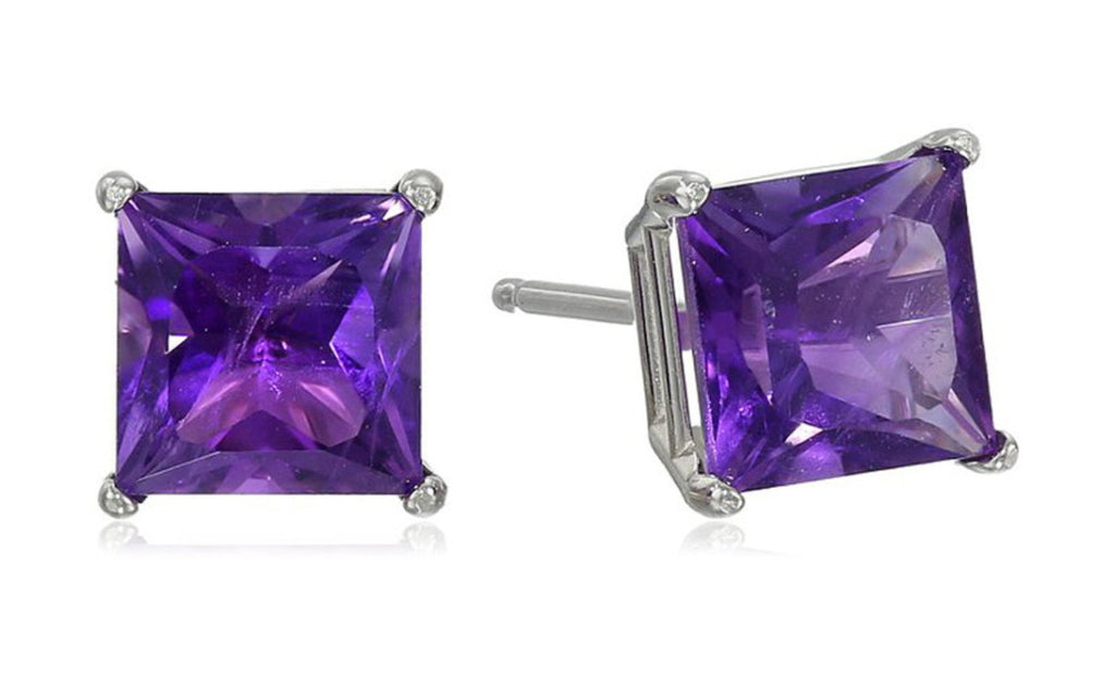 Platinum Over Sterling Silver Amethyst Gemstone Earrings