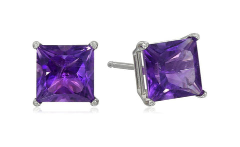 Heavy 10k White Gold Over Sterling Silver Amethyst Gemstone