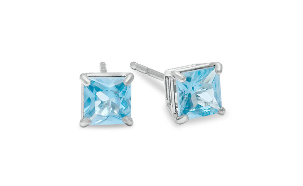 Platinum Over Sterling Silver Aquamarine Gemstone Earrings