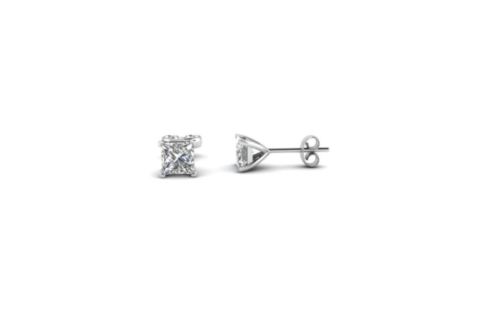 Sterling Silver 4ct White Princess Cut Cz Earring