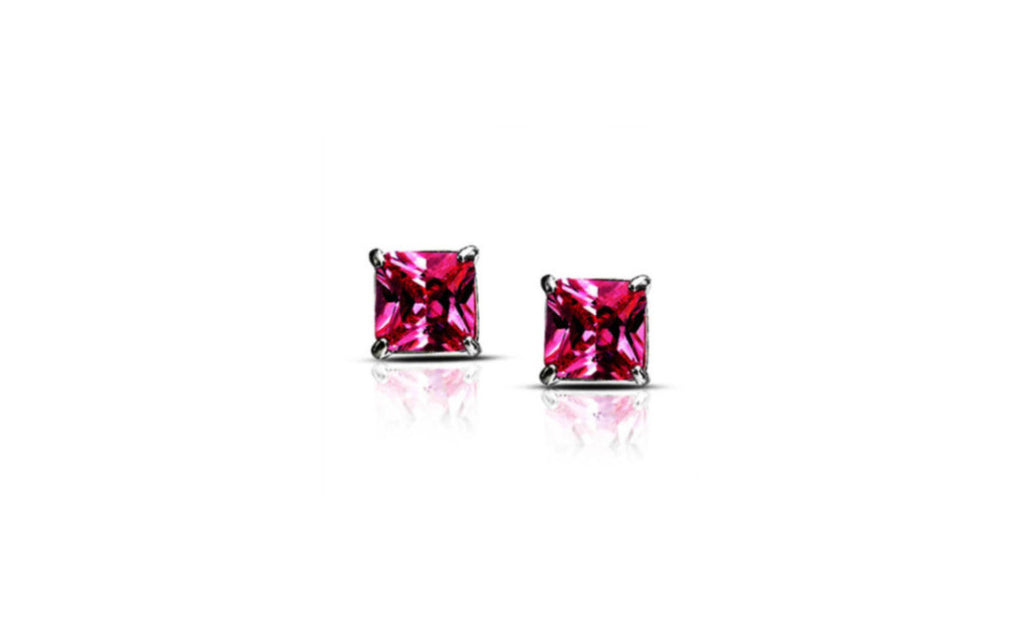 Heavy 10k White Gold Over Sterling Silver Princess Pink Cz Earrings