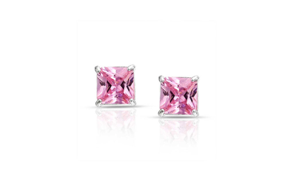 Platinum Over Sterling Silver Princess Cut Pink Cz Earring