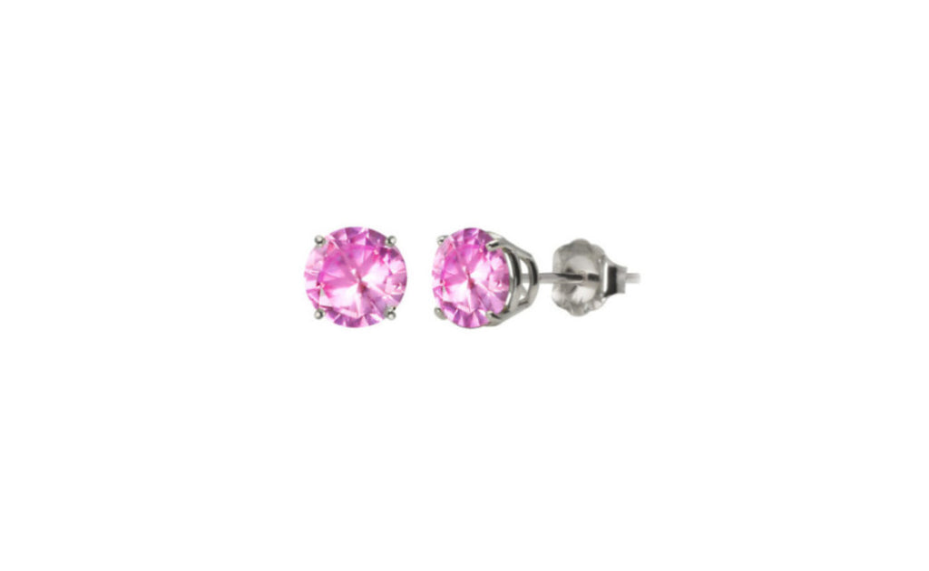 Heavy 10k White Gold Over Sterling Silver Pink Round Cz