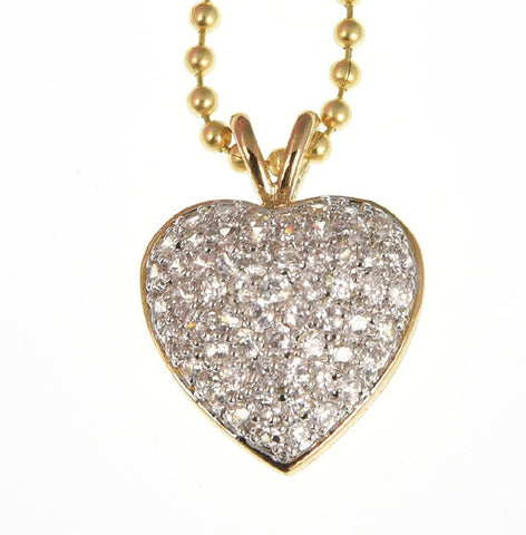 14k Gold Over Sterling Silver Brilliant Heart Shape Manmade Diamond Necklace