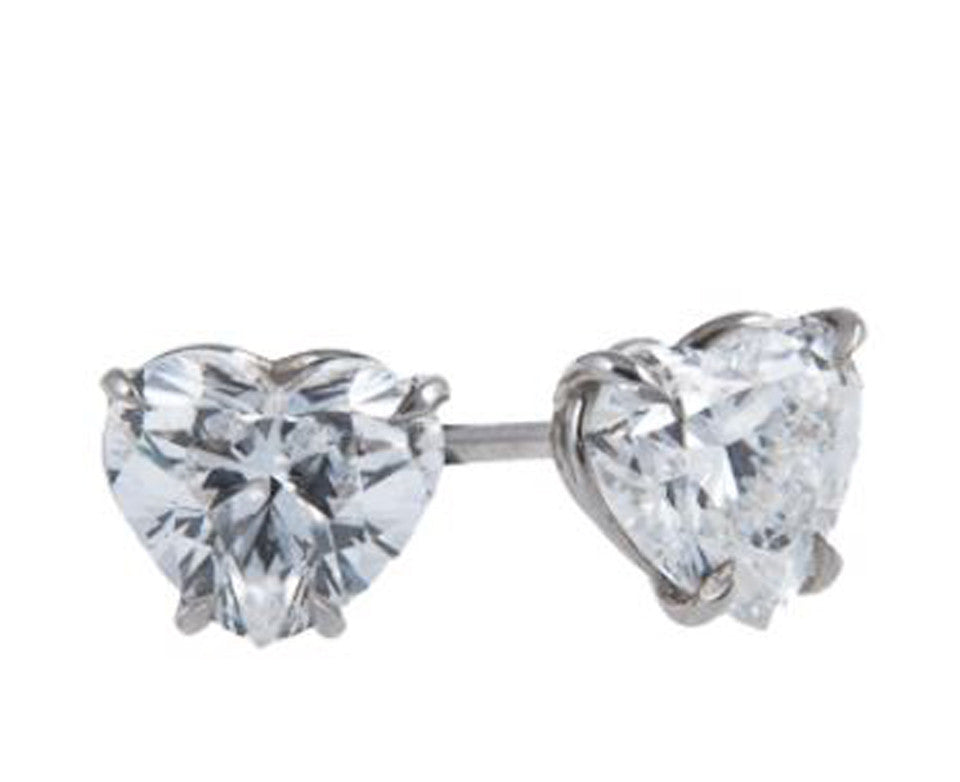 14K White Gold Manmade Diamonds Heart Shape Earrings