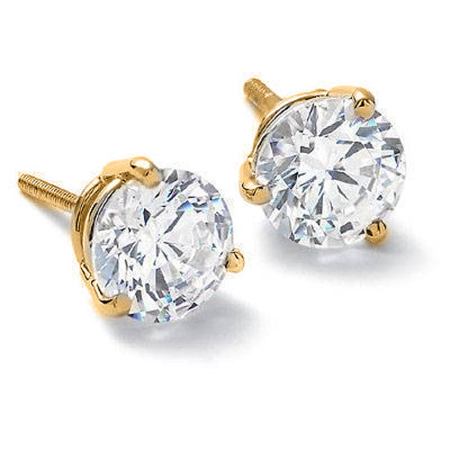 14KT Yellow Gold Round Cut White  Diamond Earrings