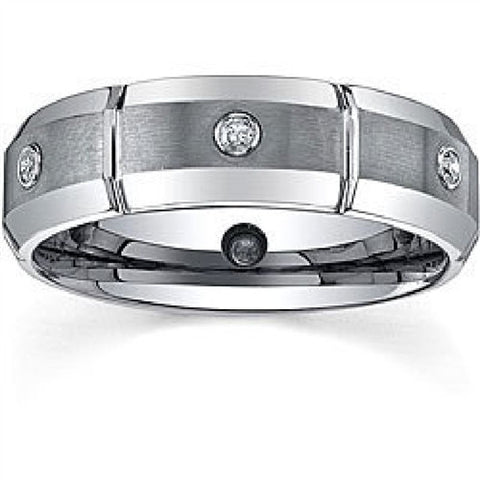 Tungsten Ring 1CT (TWC) Manmade Diamond Dual Finish Men's Ring