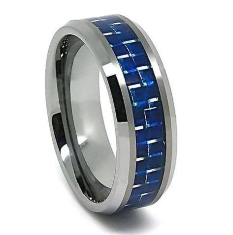 Tungsten Carbide Blue Carbon Fiber Inlay Band Wedding