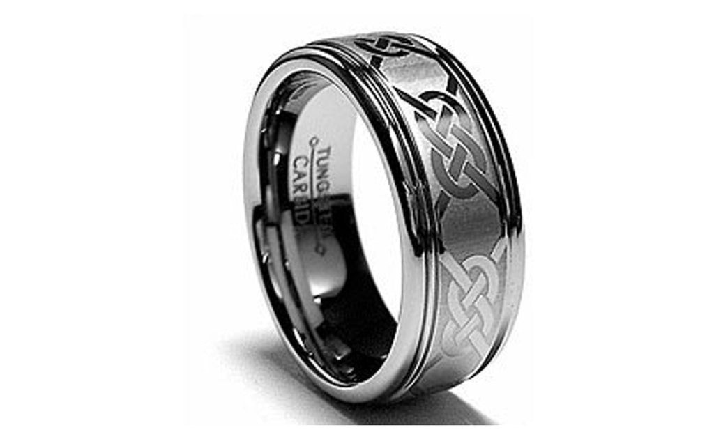 Tungsten Carbide Celtic High Polished Mens Ring Wedding Band