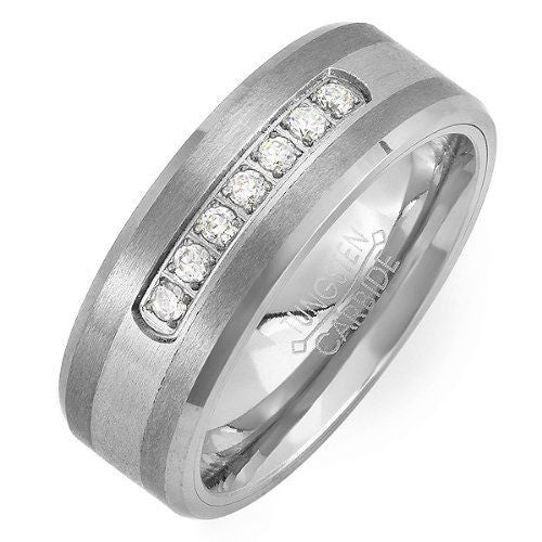 Tungsten Carbide 1 Ct White Round Manmade Diamond Ring Wedding Band