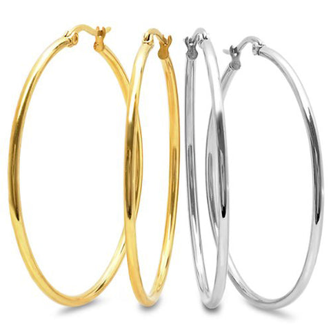 2 Inch Stunning Stainless Steel Hoop Set of Two Earrings (50mm Diameter)