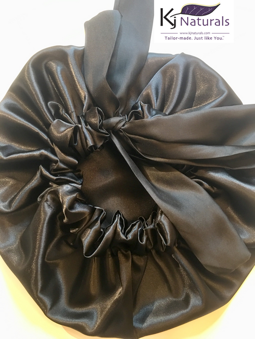 Black Satin Sleep Bonnet