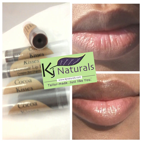 Cocoa Kisses: Chocolate lip butter! 100% natural. Light brown chocolate gloss on lips! Naturally tinted with raw organic cocoa powder