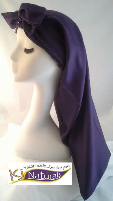 Satin Sleep Cap for Extra Long Hair/ Braids/Sister Locs: Adjustable & reversible with elastic. Purple.