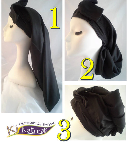"The ""Little Black Dress"" Satin Sleep Cap for Long Hair/ Braids/Locs: Reversible and adjustable with elastic. Black with solid black tie."