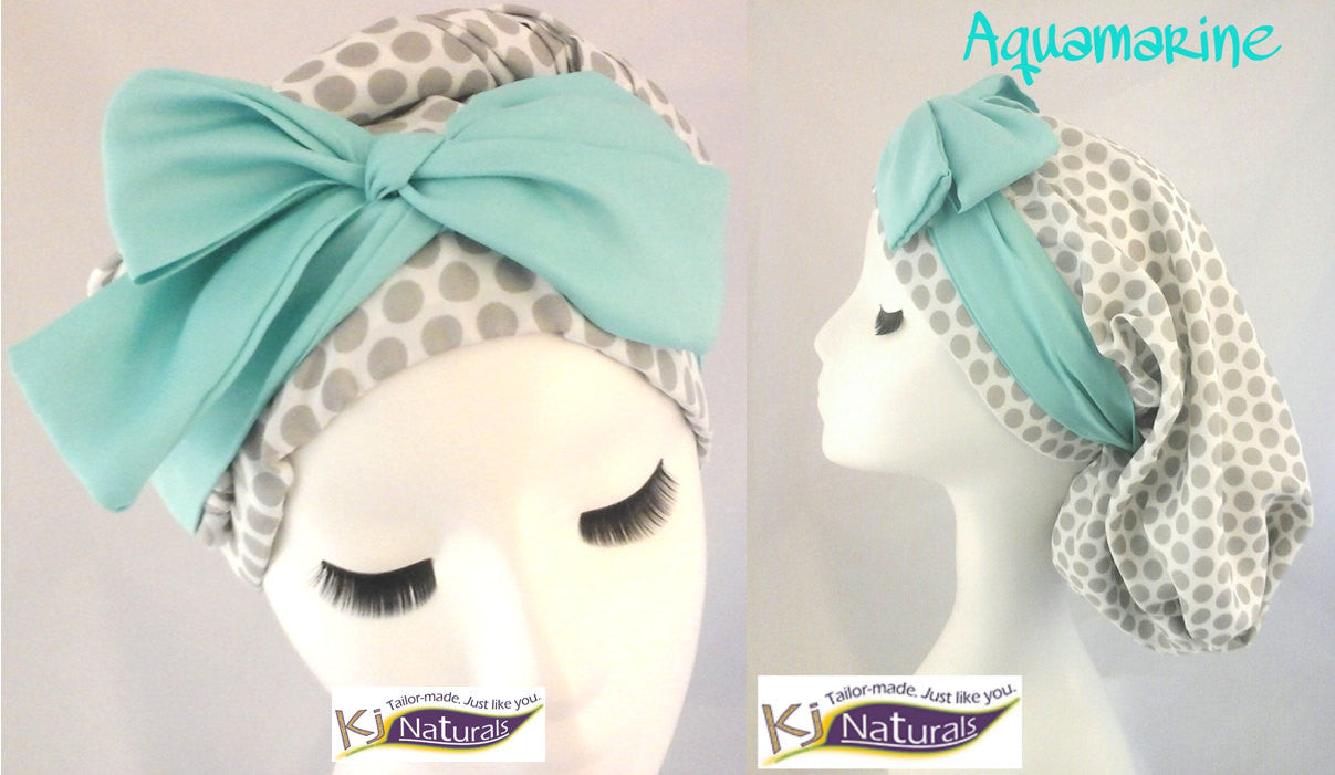 "The ""Trinidad"" Satin Sleep Cap for Long Hair/ Braids/Sister Locs: Reversible and adjustable with elastic. Gray/white polka dot, aquamarine"