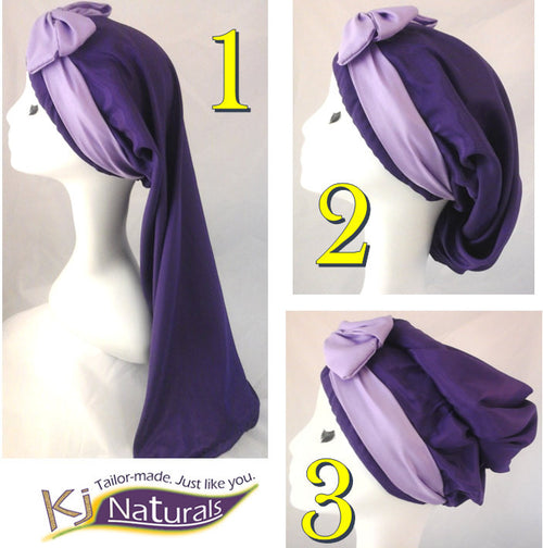 "The ""Purple Ombre"" Satin Sleep Cap for Long Hair/ Braids/Sister Locs: Reversible and adjustable with elastic. Lilac and purple"