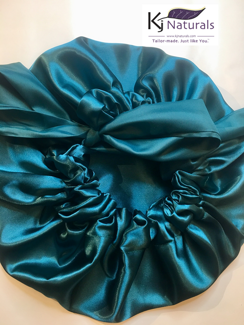 Teal Satin Sleep Bonnet