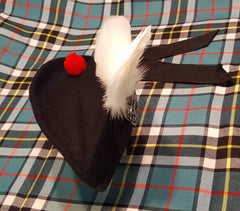 Black Glengarry with White Flat Plume