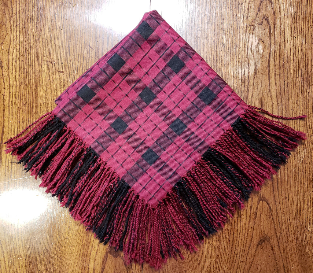 MacFarlance Red and Black Fly Plaid with Purled Fringe