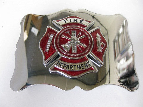 Firefighter Kilt Belt Buckle, Red with Chrome