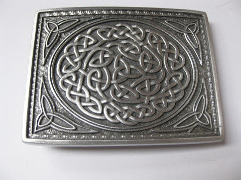 Kilt Belt Buckle, Solid Pewter Celtic Knot