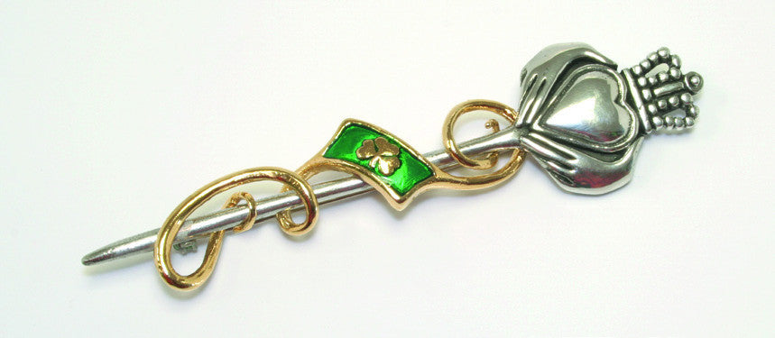 Claddagh And Shamrock Kilt Pin