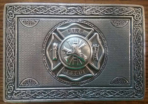 Firefighter Kilt Belt Buckle, Solid Pewter