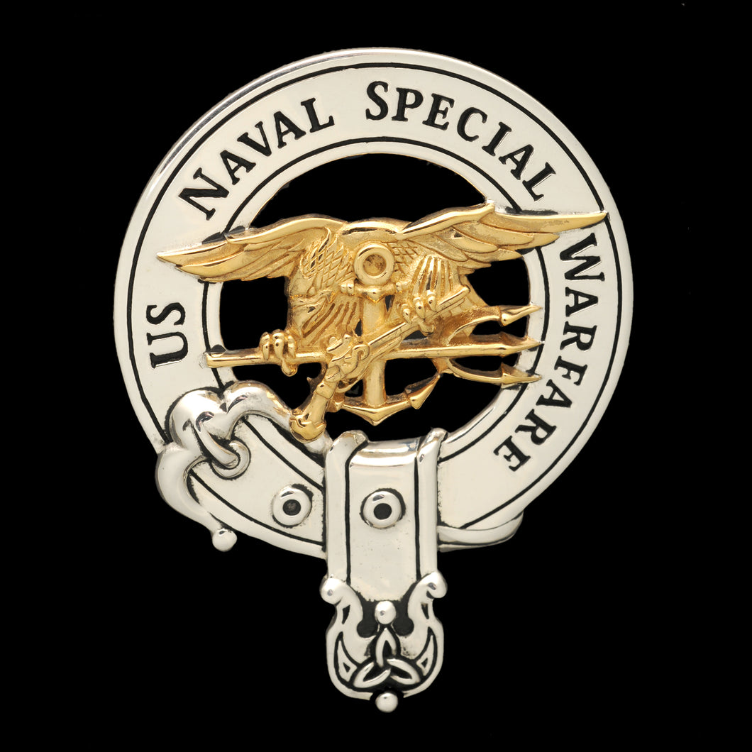 Sterling Silver & Gold Cap Badge: US Naval Special Warfare