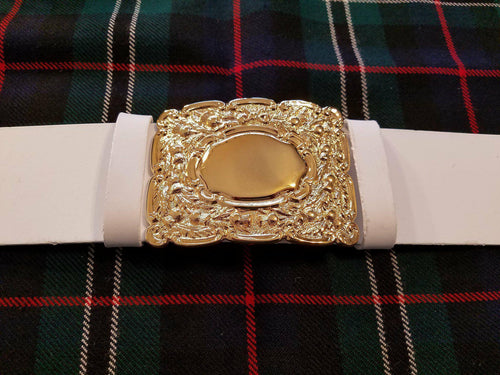 Scottish Pipe Band Shiny PVC Belt (White)