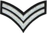 Corporal (Double) Stripe Chevron Badge, Silver Bullion on Black