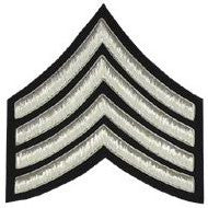 Major (Four Stripe) Chevron Badge, Silver Bullion on Black