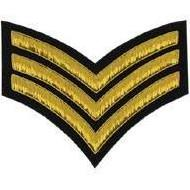 Sergeant (Triple) Stripe Chevron Badge, Gold Bullion on Black
