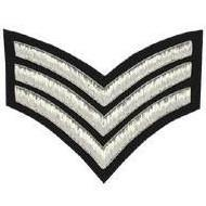 Sergeant (Triple) Stripe Chevron Badge, Silver Bullion on Black