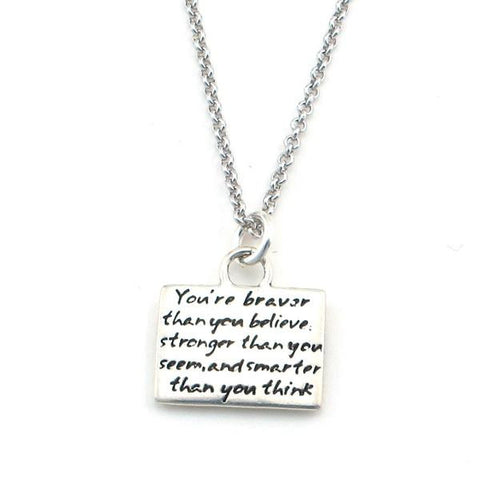 "Kevin N Anna Studios Small ""Courage"" Pendant with Braille writing"