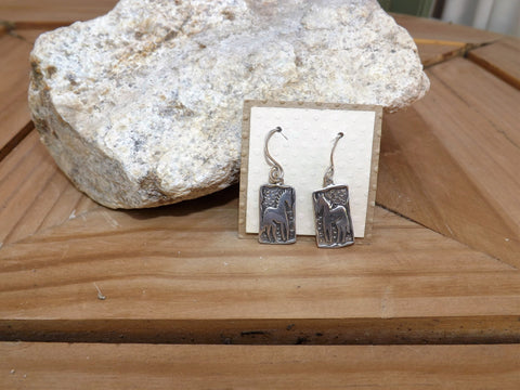 Spanish Creek Silver Rectangle Horse Earring w/ Spiral Wire