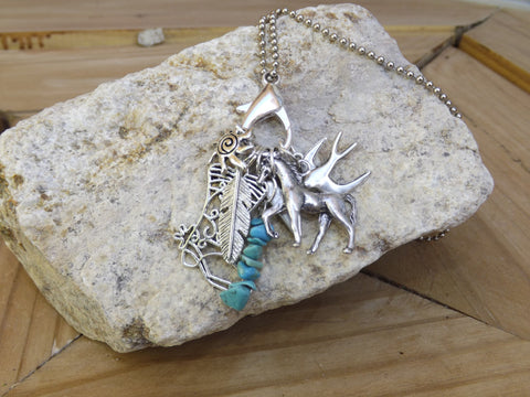 Stone Circle Studio *Charmed Life* charm necklace in Turquoise